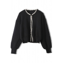 Fancy Ladies Cardigan Pearl Decoration Long Sleeve Knit Relaxed Cardigan