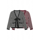 Fancy Womens Cardigan Houndstooth Long Sleeve Deep V-neck Bow-tied Front Regular Knit Cardigan