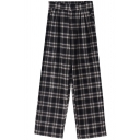 Popular Girls Pants Plaid Printed High Rise Ankle Length Straight Pants in Black-white
