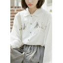 Leisure Women's Shirt Blouse Graphic Embroidered Button Closure Spread Collar Long Sleeve Regular Fitted Shirt Blouse