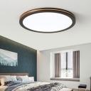 Nordic LED Flush Mount Ceiling Fixture Dark Brown Geometric Flush Light with Acrylic Shade