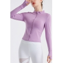 Fancy Women's Jacket Solid Color Zip Fly Stand Collar Finger Hole Long Sleeve Slim Fitted Jacket
