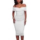 Womens Elegant Plain White Off Shoulder Ruched Detail Midi Bandage Dress for Party