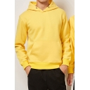 Mens Stylish Hoodie Solid Color Drawstring Thick Cuffed Long Sleeve Regular Fit Hoodie with Kangaroo Pocket