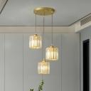 Geometric Shape Multi Pendant Light Postmodern Prismatic Crystal 3-Bulb Dining Room Hanging Light