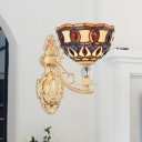 Small Wall Lamp Fixture Tiffany Stained Glass Single Beige Wall Mounted Light for Corridor