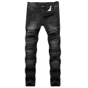 Mens Fashion Spray Printed Knee Patchwork Distressed Ripped Black Slim Fit Jeans