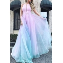 Pink Gorgeous Dress Sleeveless V-cut Neck Ombre Maxi A-line Dress for Ladies