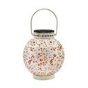 1 Pc Hollow Lantern Metallic LED Suspension Light Decorative White Solar Ground Light with Handle