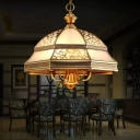 Antique Panes Ceiling Lighting Frosted Glass Chandelier Light with Pull Chain in Gold