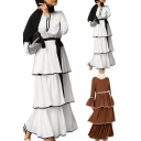 Womens Dress Traditional Contrast Trim Flared Cuff A-Line Slim Maxi Long Sleeve Layered Dress