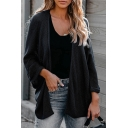 Ladies Elegant Plain Long Sleeve Open Front Waffle Knitted Relaxed Fit Cardigan
