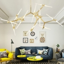 Nordic Style Herringbone Branch LED Chandelier Light Metal Living Room Pendant Light Fixture