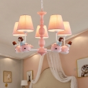 Girl and Whale Chandelier Light Cartoon Resin Bedroom Ceiling Suspension Lamp with Conic Fabric Shade