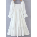 Girls Cute White Dress Long Sleeve Square Neck Pintuck Ruffled Mid Pleated A-line Dress