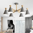 Swivelable Conical Cup Chandelier Nordic Metal Bedroom Suspension Pendant Light with Wooden Arm