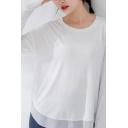 Unique Womens Yoga T-Shirt Plain Color Drop Shoulder Quick Dry Relaxed Fit Long Sleeve Crew Neck Tee Shirt