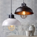 Industrial Bowl Shaped Pendant Light Single Metal Ceiling Lamp with Cage for Dining Room