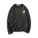 Classic Mens Cap Striped Pattern Letter Br Long Sleeve Round Neck Relaxed Fit Graphic Tee Top