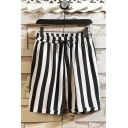 Casual Mens Shorts Striped Alien Spaceship Pattern Flap Pocket Drawstring Mid Rise Regular Fitted Shorts