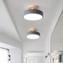 Round Aisle LED Ceiling Flush Light Acrylic Macaron Semi Mount Lighting with Wooden Canopy