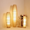 Barrel Shaped Cage Floor Lamp Asian Bamboo 1 Bulb Living Room Standing Light with Inner Fabric Shade