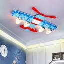 Aircraft Wooden Ceiling Fixture Kids 4-Head Blue Flush Mount Light for Boys Room