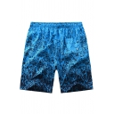 Holiday Beach Blue Tropical Leaf Printed Drawstring Waist Quick Dry Swim Trunks with Liner