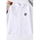 Leisure Women's Shirt Blouse Icon Embroidered Chest Pocket Button Closure Point Collar Long Sleeve Shirt Blouse