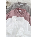 Fancy Women's Shirt Blouse Solid Color Ruffle Hem Button Fly Long Flare Cuff Sleeves Regular Fitted Shirt Blouse