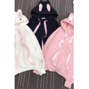 Cute Women's Hoodie Rabbit Embroidered Front Pocket Long Sleeve Relaxed Fit Drawstring Rabbit Ear Hooded Sweatshirt