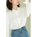 Feminine Women's Shirt Blouse Solid Color Button Fly Point Collar Stringy Selvedge Embellished Point Collar Long Sleeve Regular Fitted Shirt Blouse