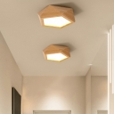 Faceted Wooden Flush Mount LED Light Modernist Close to Ceiling Lamp with Pentagon Acrylic Shade