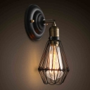 Adjustable Iron Black Wall Mount Lamp Bud Shaped Cage Single Industrial Sconce Fixture