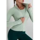 Fancy Women's Workout Jacket Zip down Long Sleeve Slim Fitted Training Jacket