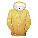 Unisex 3D Allover Cute Triangle Pattern Yellow Ombre Long Sleeve Loose Pullover Hoodie with Pocket