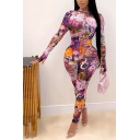 Amazing Womens Jumpsuit Mixed Printed Glove Sleeve Mock Neck Ankle Fitted Jumpsuit in Pink