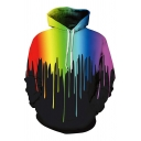 Designer Guys Long Sleeve Drawstring Colorful Pouring 3D Printed Loose Fit Pouch Pocket Hoodie