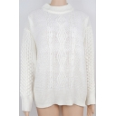 Womens Simple Long Sleeve Mock Neck Cable Knit Loose Plain Cream Fisherman Sweater