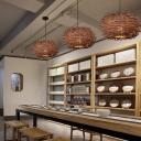 Bird Nest Restaurant Ceiling Light Rattan Single South-east Asia Hanging Pendant Lighting