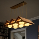 Lodge Gable Roof Pendant Lighting Fixture Bamboo Dining Room Island Light with Ribbed Glass Shade in Wood