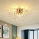 Modernism Dandelion Ceiling Flush Mount Light Crystal Living Room Flush Light Fixture