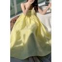 Elegant Women's A-Line Dress Solid Color Spaghetti Strap Square Neck Sleeveless Long A-Line Dress