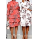 Fashion Womens Dress Floral Printed Long Sleeve Bow Tied Neck Belted Ruffled Tiered Mid Pleated Dress