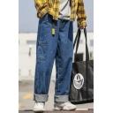 Men's Street Style Trendy Ribbon Pocket Embellished Rolled Cuffs Straight Wide Leg Jeans
