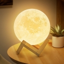 Moon Nightstand Lamp Nordic Style Plastic White LED Table Lighting with Wood Base for Bedside