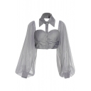 Pretty Womens Shirt See-through Mesh Blouson Sleeve Point Collar Button Up Fit Crop Shirt Top in Gray