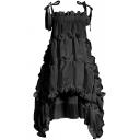 Cute Girls Dress Solid Color Bow Tied Shoulder Stringy Selvedge Short Oversize Cami Dress