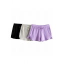 Basic Solid Color Shorts Drawstring Waist Relaxed Fitted Shorts for Girls