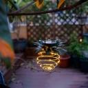 1 Pc Pineapple Shaped Backyard Solar Pendant Light Metallic Contemporary LED Suspension Light in Yellow